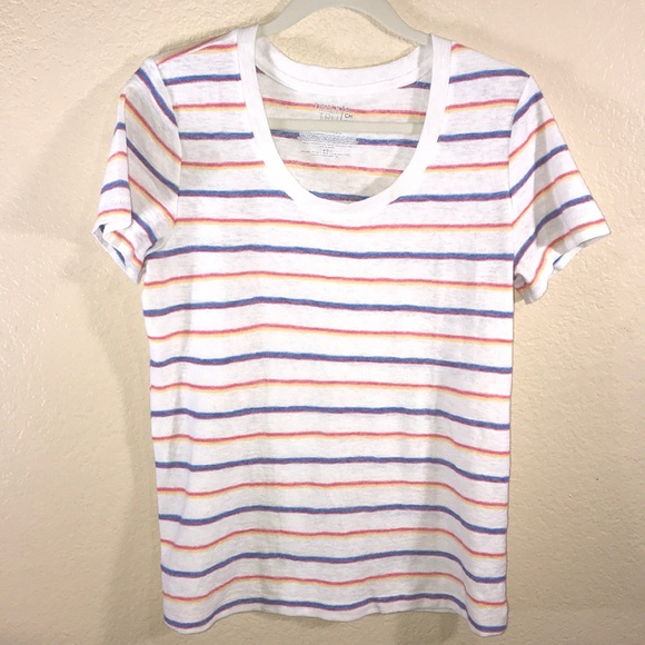 Time and Tru Tops - White t-shirt with rainbow stripes Small